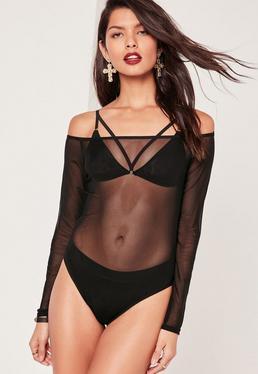 Mesh Bardot Bodysuit Black