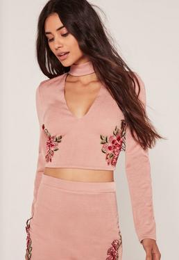Pink Applique Choker Neck Crop Top