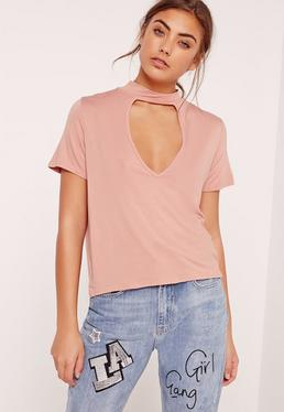 Choker Neck T Shirt Pink
