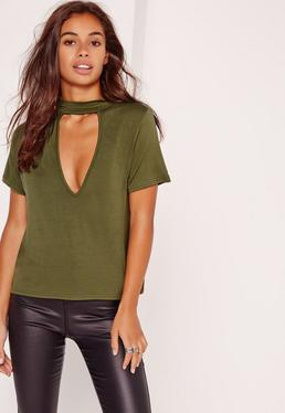 Choker Neck T Shirt Khaki