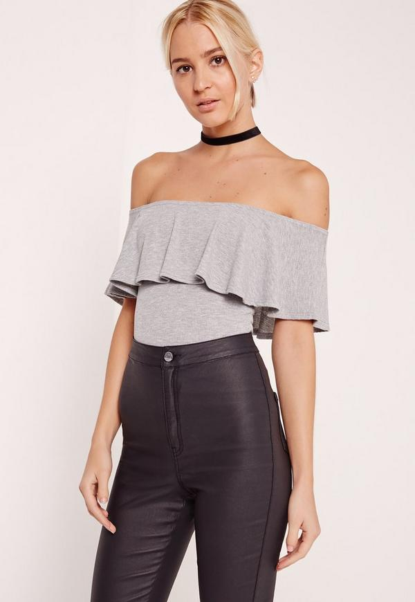 Frill Bardot Ribbed Bodysuit Grey