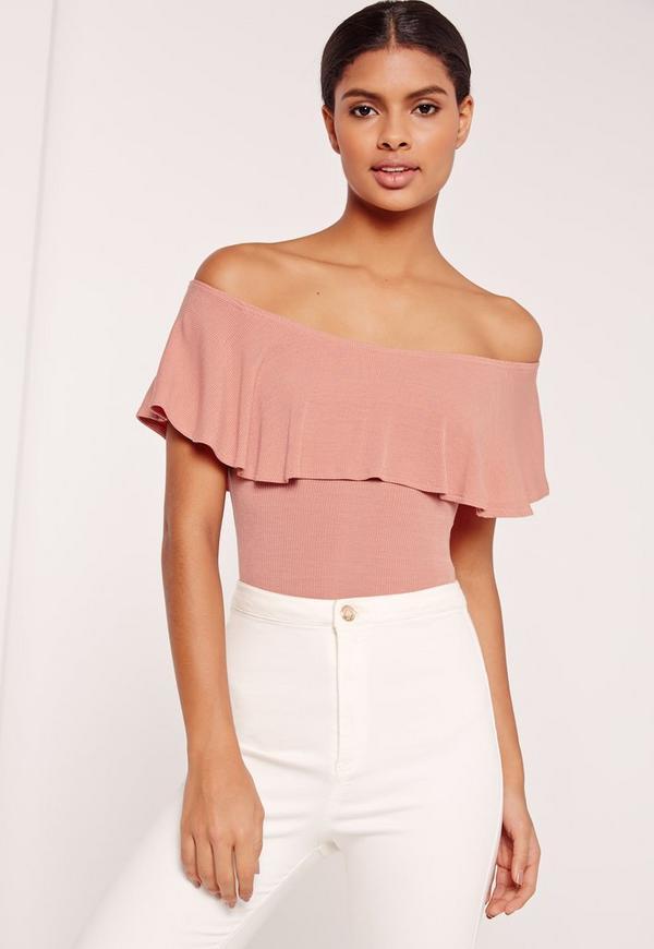 Frill Bardot Ribbed Bodysuit Pink