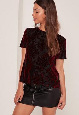 Burgundy Flocked Floral Print Mesh T Shirt