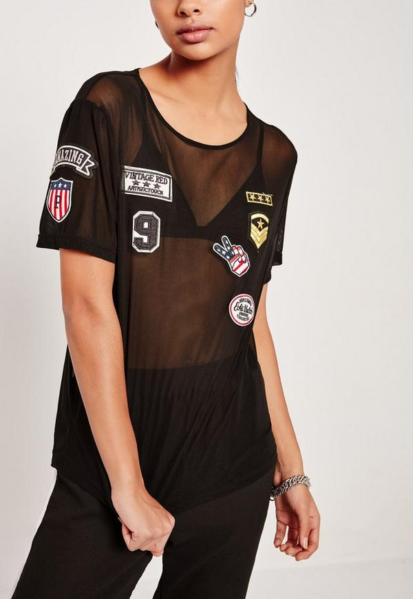 Badge Mesh T Shirt Black