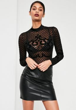 Body noir à col montant et motifs floqués