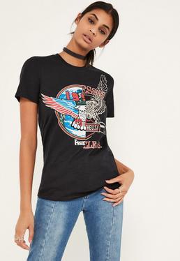 T-Shirt mit Schlitz und Slogan in Schwarz