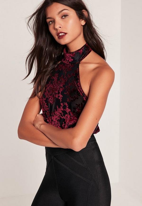 Burgundy Turtle Neck Floral Flocked Bodysuit