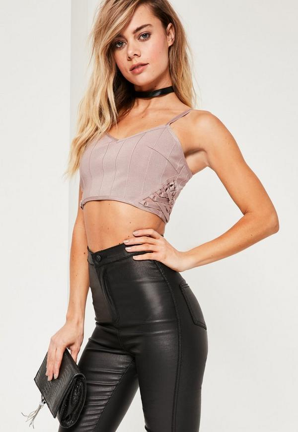 Purple Bandage Lace Up Side Bralet