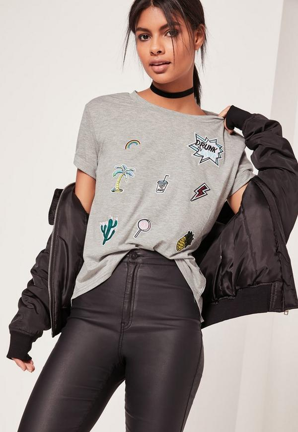 Patch T-Shirt Grey
