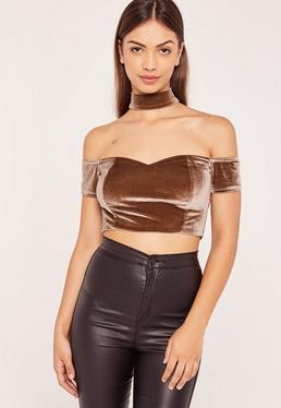 Brown Velvet Choker Neck Bardot Crop Top