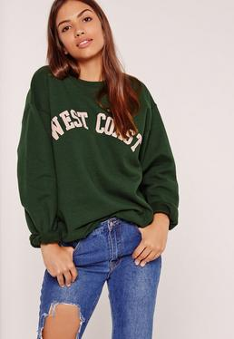 "Sweatshirt mit ""West Coast""-Slogan in Grün"