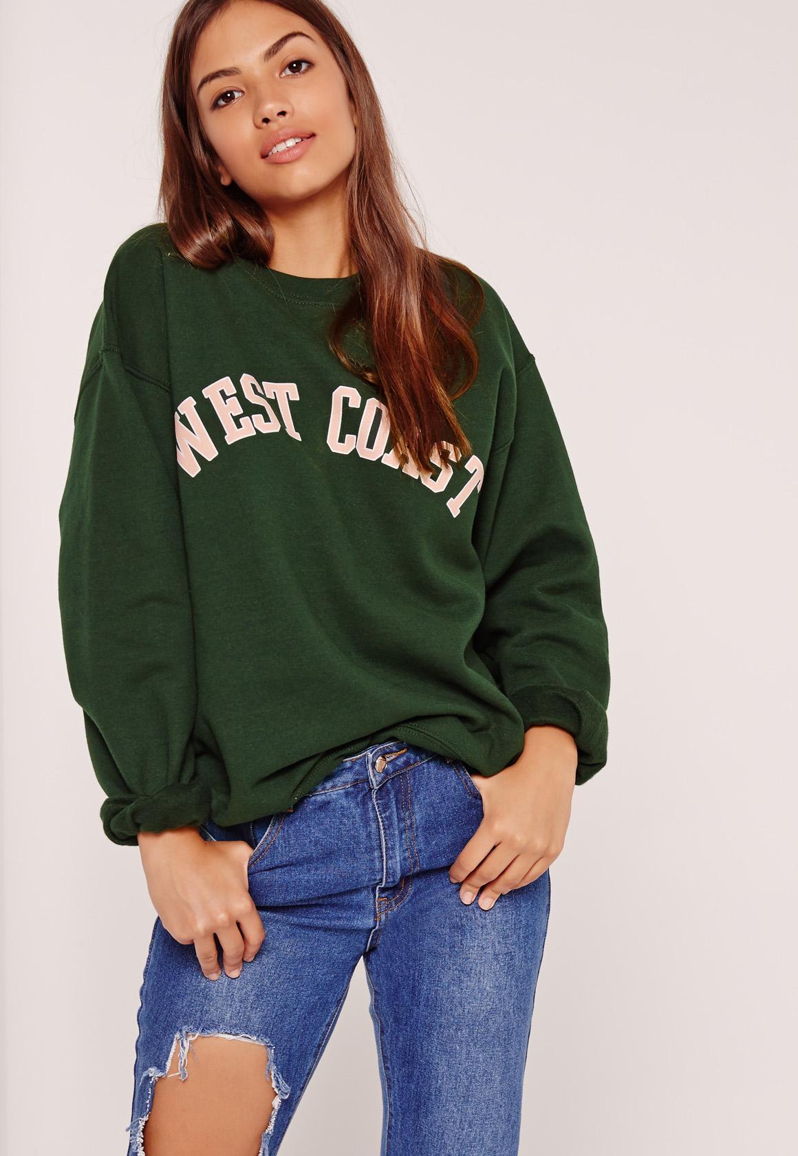West Coast Slogan Sweatshirt Green | Missguided