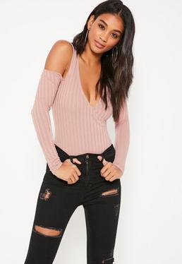 Pink Wrap Front Cold Shoulder Bodysuit