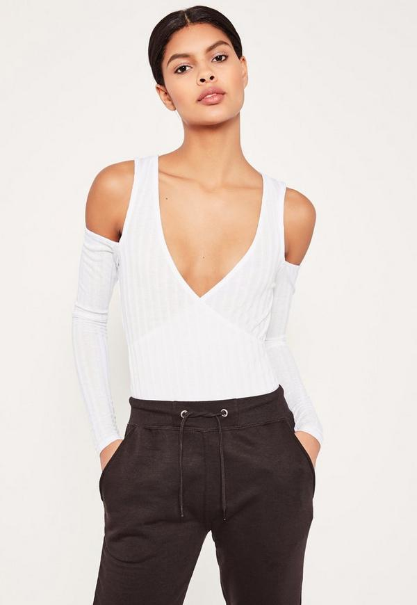 White Wrap Front Cold Shoulder Bodysuit