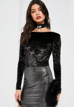 Black Crushed Velvet Long Sleeve Bodysuit