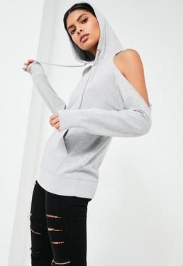 Grey Cold Shoulder Hoodie
