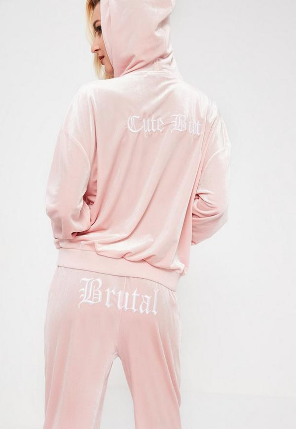 Galore Pink Velour Printed Hooded Jacket