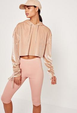 Nude Velour Tie Cuff Cropped Hoodie