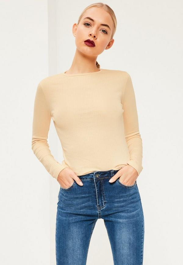 Nude Crew Neck Ribbed Top
