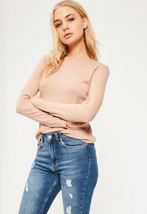 Rose Pink Crew Neck Ribbed Top