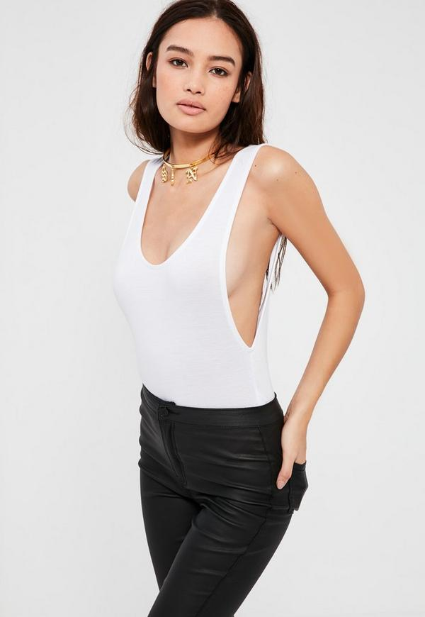 White Scoop Back Bodysuit