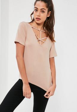 Nude Cross Front Harness Ring Detail T-Shirt