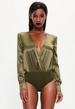 Peace + Love Khaki Satin Wrap Button Bodysuit