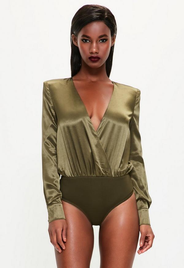 Peace + Love Khaki Satin Wrap Button Bodysuit