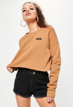 Nude Bruh Cropped Slogan Sweatshirt