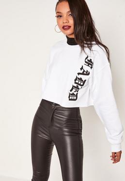 White Faded Script Cropped Sweatshirt