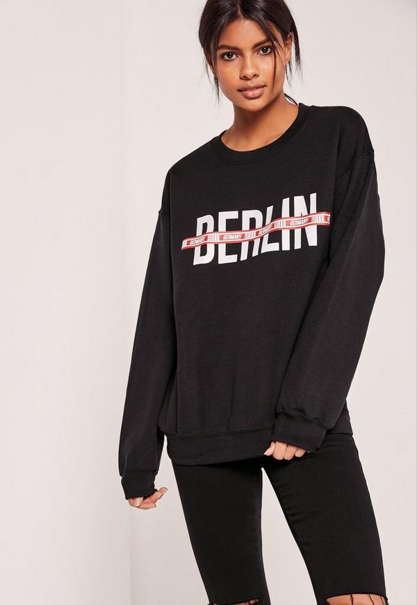 Berlin Slogan Sweatshirt Black