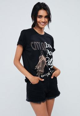Black Spliced City Of New York Print T Shirt