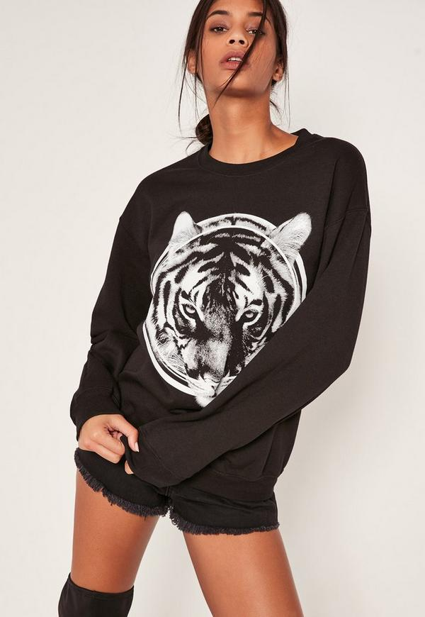 Black Graphic Tiger Sweatshirt
