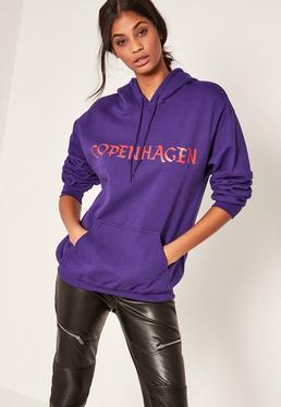 Purple Copenhagen Slogan Hoodie