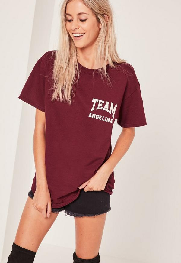 Team Angelina Slogan T-Shirt Burgundy
