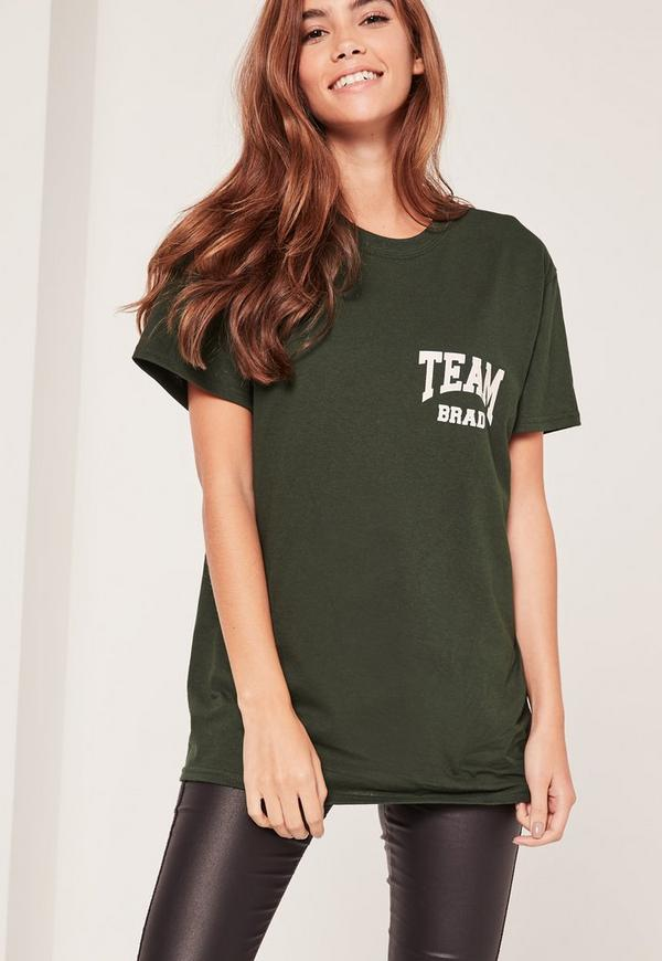 Team Brad Slogan T-Shirt Green