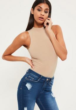 Nude High Neck Slinky Sleeveless Bodysuit