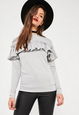 Grey Frill Detail Sweatshirt