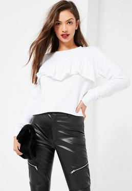 White Frill Front Sweatshirt