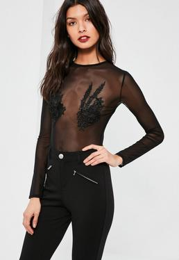 Black Applique Mesh Long Sleeve Bodysuit