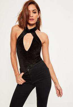 Black Shimmer Velvet Choker Neck Sleeveless Bodysuit