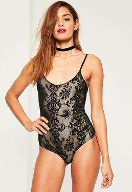 Black Flocked Mesh Overlay Sleeveless Bodysuit