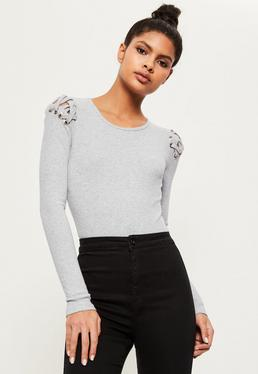 Grey Lace Up Shoulder Ribbed Long Sleeve Bodysuit