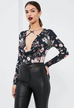 Black Floral Printed Cross Front Bodysuit