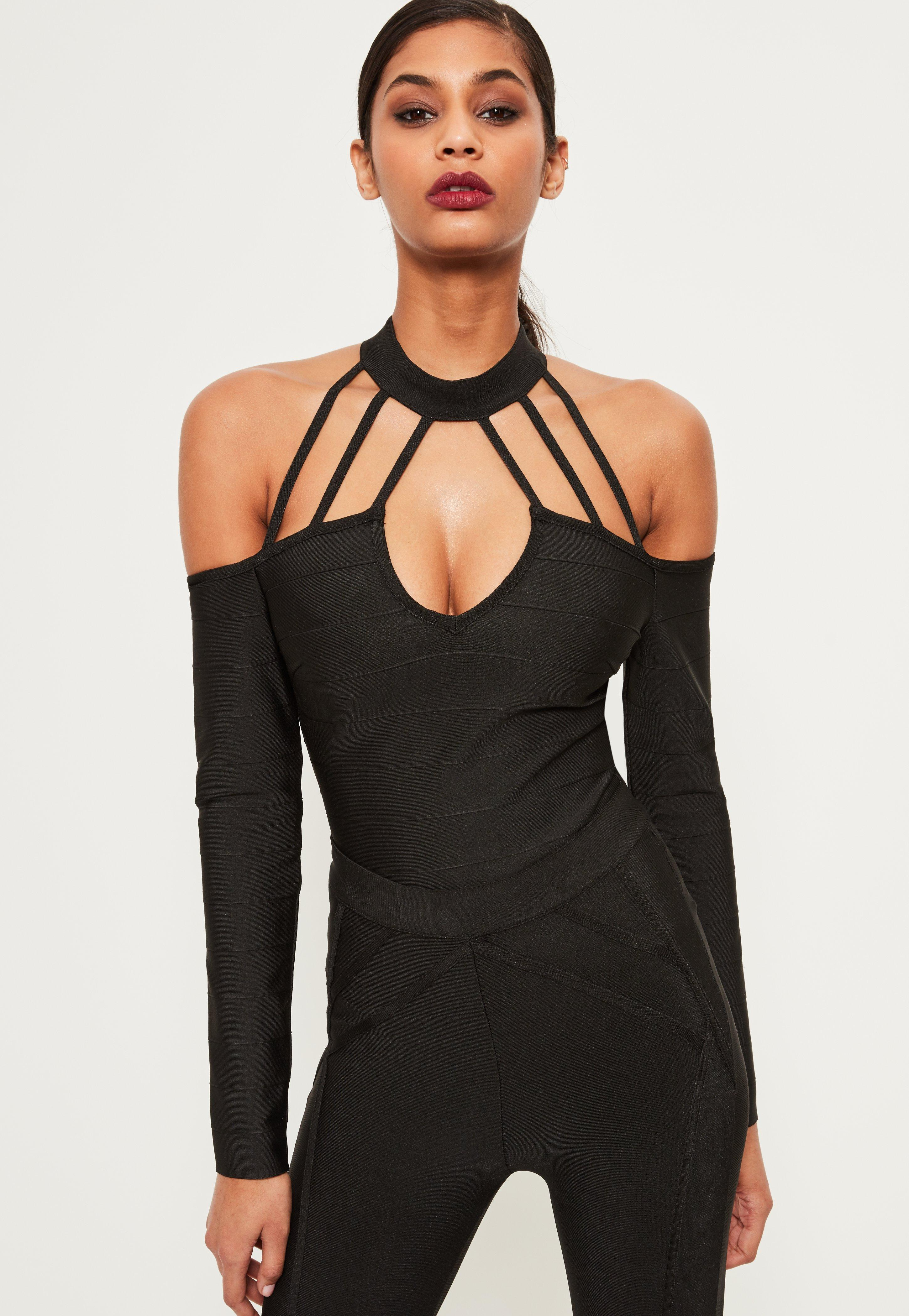 Black Bandage Cold Shoulder Strap Bodysuit