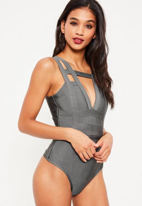 Grey Strap Detail Bandage Bodysuit