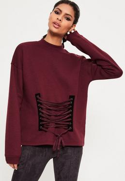 Burgundy Lace Up Front Detail Sweatshirt