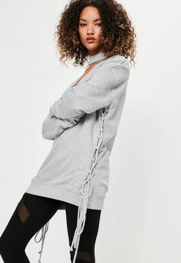 Grey Choker Neck Lace Up Side Detail Sweatshirt