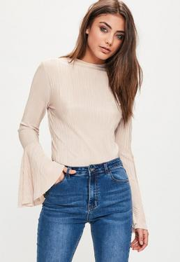 Nude Pleated High Neck Fluted Sleeve Jersey Top