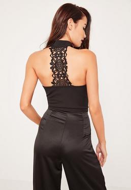 Black Lace Detail Back Tab Neck Bralet